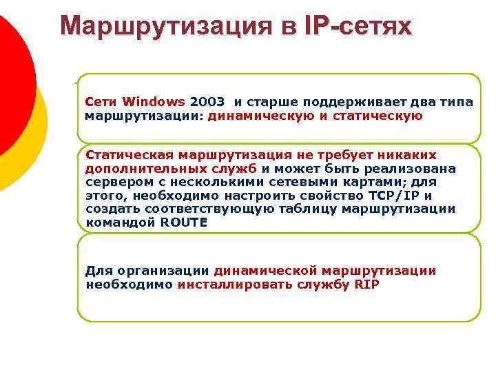 Маршрутизация в IP-сетях Зоны DNS Сети Windows 2003 и старше поддерживает два типа маршрутизации:
