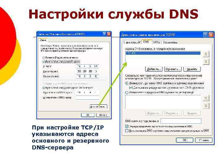 Настройки службы DNS При настройке TCP/IP указываются адреса основного и резервного DNS-сервера