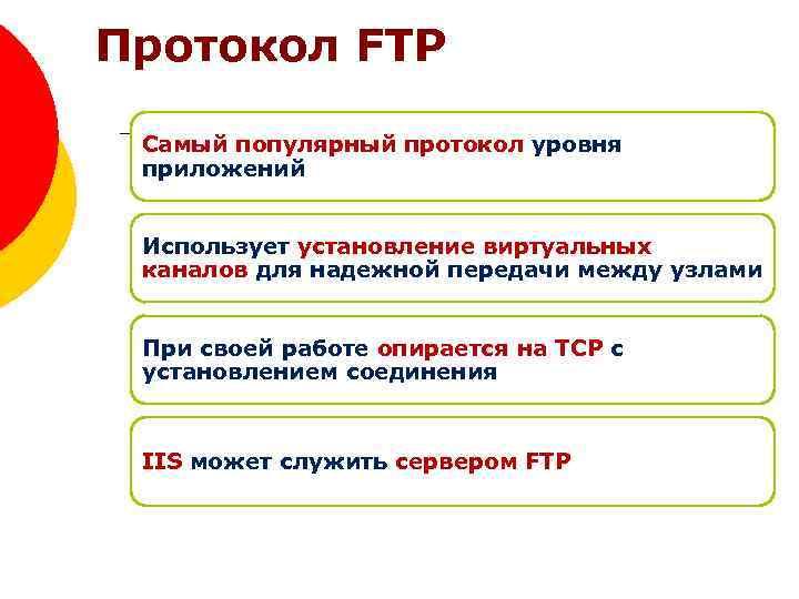 Протокол FTP Самый популярный протокол уровня приложений Использует установление виртуальных каналов для надежной передачи