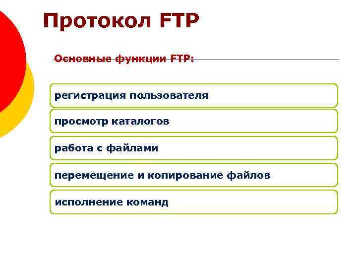 Протокол FTP Основные функции FTP: регистрация пользователя просмотр каталогов работа с файлами перемещение и