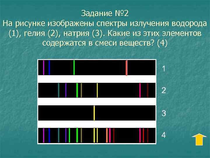 Задание № 2 На рисунке изображены спектры излучения водорода (1), гелия (2), натрия (3).