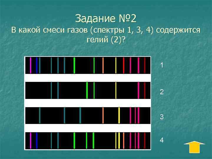 Задание № 2 В какой смеси газов (спектры 1, 3, 4) содержится гелий (2)?