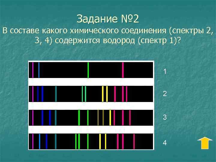 Задание № 2 В составе какого химического соединения (спектры 2, 3, 4) содержится водород