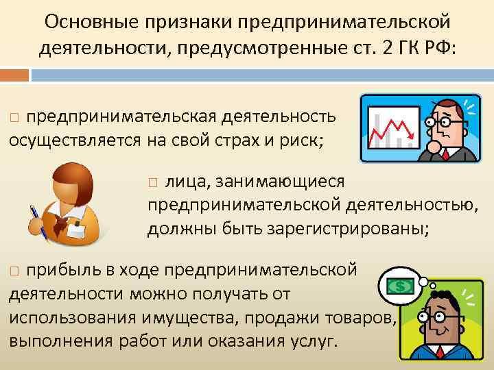 Основные признаки предпринимательской деятельности, предусмотренные ст. 2 ГК РФ: предпринимательская деятельность осуществляется на свой