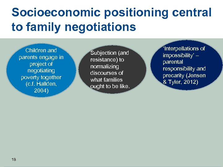 Socioeconomic positioning central to family negotiations Children and parents engage in project of negotiating