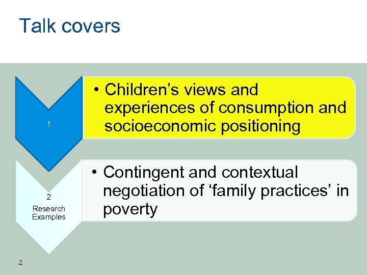 Talk covers 1 2 Research Examples 2 • Children's views and experiences of consumption