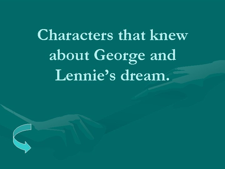 Characters that knew about George and Lennie's dream.