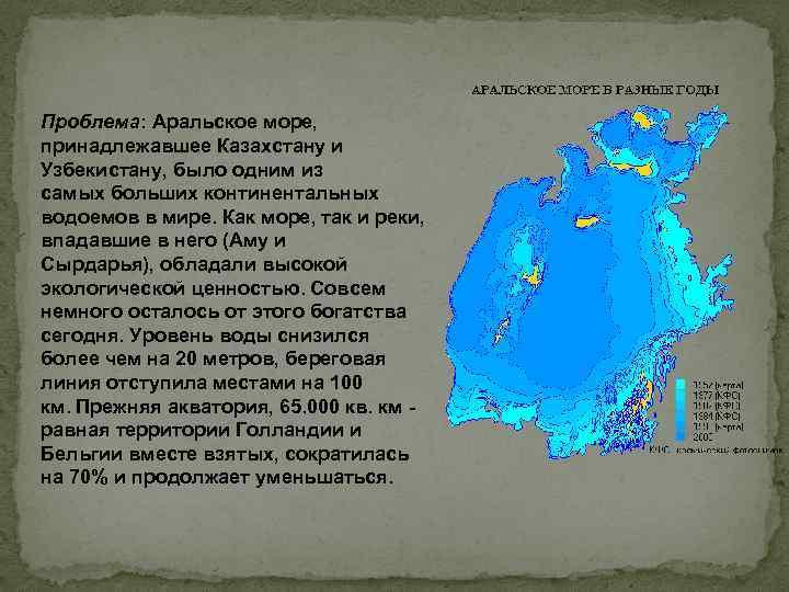 Проблема: Аральское море, принадлежавшее Казахстану и Узбекистану, было одним из самых больших континентальных водоемов