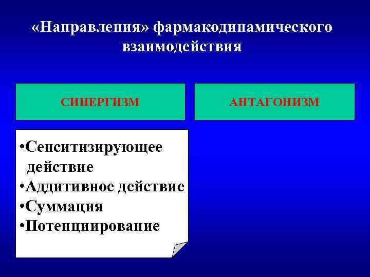 «Направления» фармакодинамического взаимодействия СИНЕРГИЗМ • Сенситизирующее действие • Аддитивное действие • Суммация •