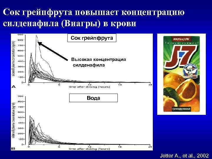 Сок грейпфрута повышает концентрацию силденафила (Виагры) в крови Сок грейпфрута Высокая концентрация силденафила Вода