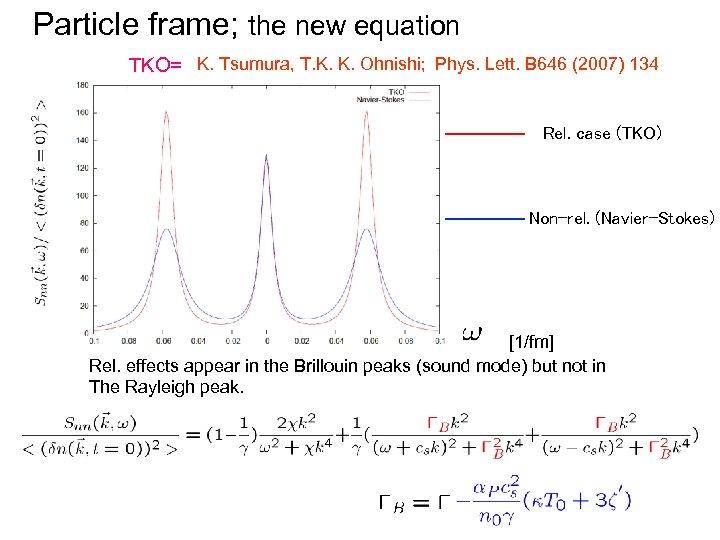 Particle frame; the new equation TKO= K. Tsumura, T. K. K. Ohnishi; Phys. Lett.