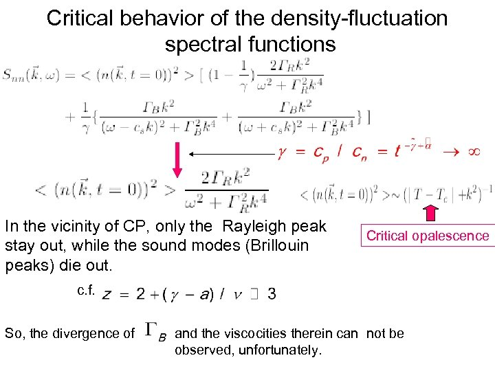 Critical behavior of the density-fluctuation spectral functions In the vicinity of CP, only the