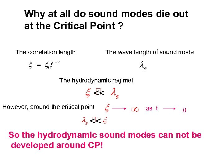 Why at all do sound modes die out at the Critical Point ? The