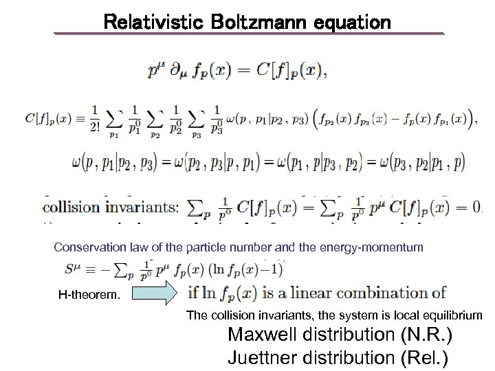 Relativistic Boltzmann equation Conservation law of the particle number and the energy-momentum H-theorem. The