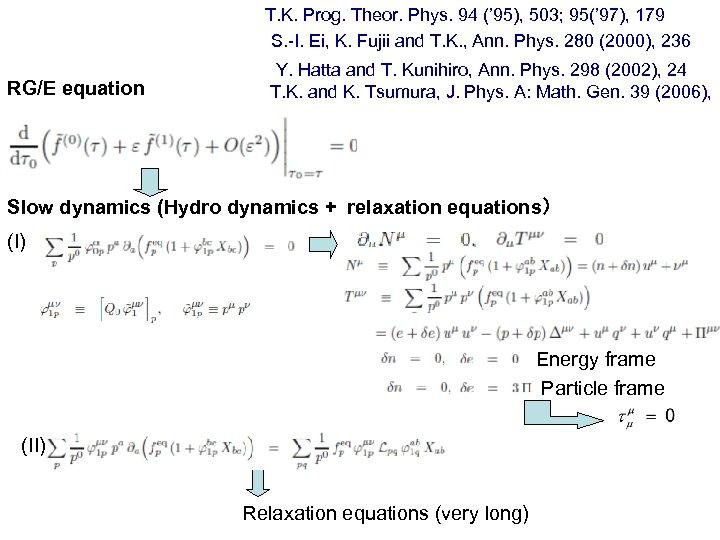 T. K. Prog. Theor. Phys. 94 (' 95), 503; 95(' 97), 179 S. -I.