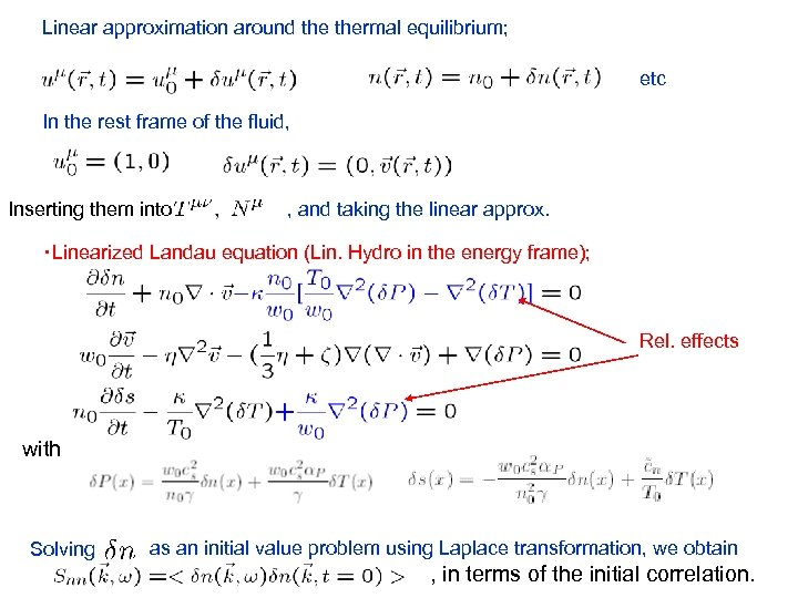 Linear approximation around thermal equilibrium; etc In the rest frame of the fluid, Inserting