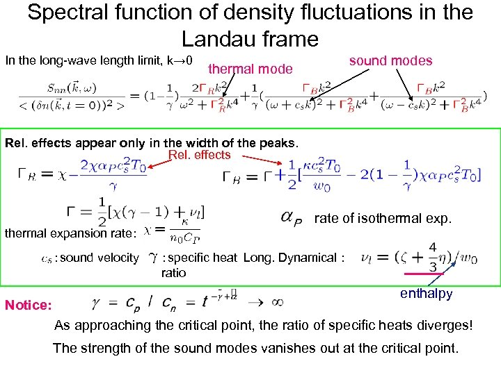 Spectral function of density fluctuations in the Landau frame In the long-wave length limit,