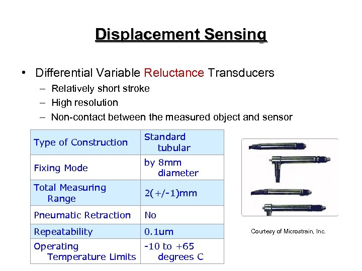 Displacement Sensing • Differential Variable Reluctance Transducers – Relatively short stroke – High resolution