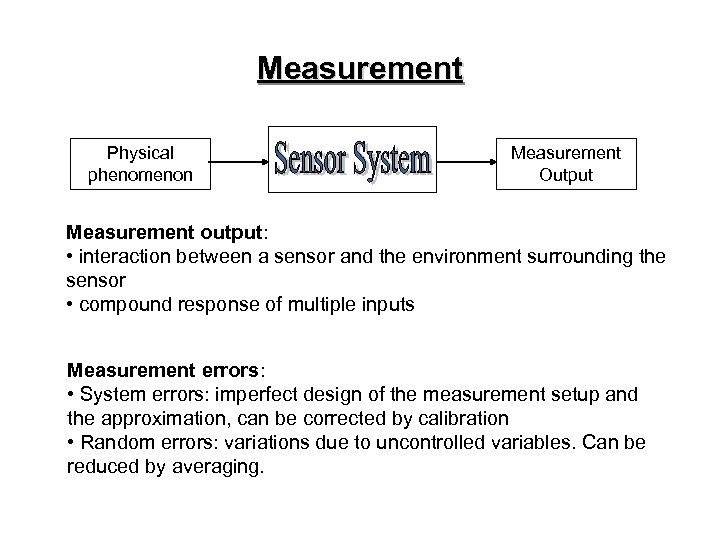 Measurement Physical phenomenon Measurement Output Measurement output: • interaction between a sensor and the