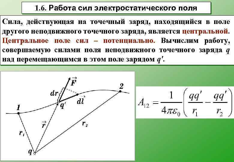 1. 6. Работа сил электростатического поля Сила, действующая на точечный заряд, находящийся в поле