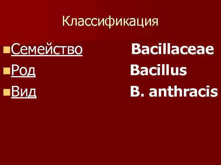 Классификация n. Семейство n. Род n. Вид Bacillaceae Bacillus B. anthracis