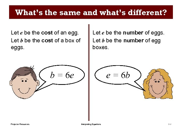 What's the same and what's different? Let e be the cost of an egg.