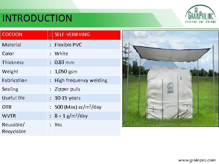 INTRODUCTION COCOON : SELF-VERIFYING Material : Flexible PVC Color : White Thickness : 0.