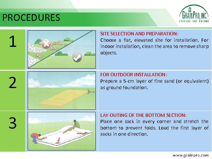 PROCEDURES 1 SITE SELECTION AND PREPARATION: Choose a flat, elevated site for installation. For