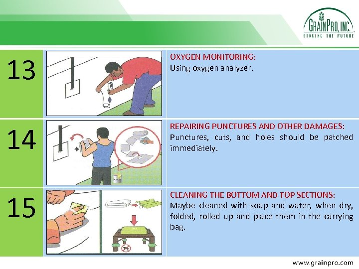 13 OXYGEN MONITORING: Using oxygen analyzer. 14 REPAIRING PUNCTURES AND OTHER DAMAGES: Punctures, cuts,