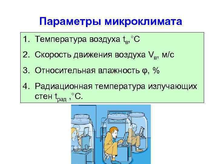 Параметры микроклимата 1. Температура воздуха tв, °С 2. Скорость движения воздуха Vв, м/с 3.