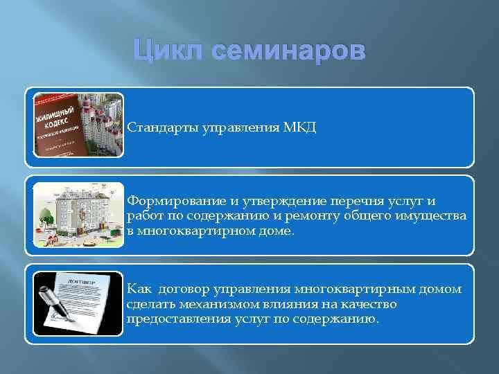Цикл семинаров Стандарты управления МКД Формирование и утверждение перечня услуг и работ по содержанию