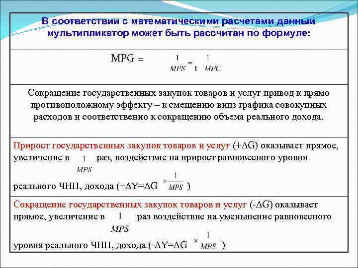 В соответствии с математическими расчетами данный мультипликатор может быть рассчитан по формуле: MPG =