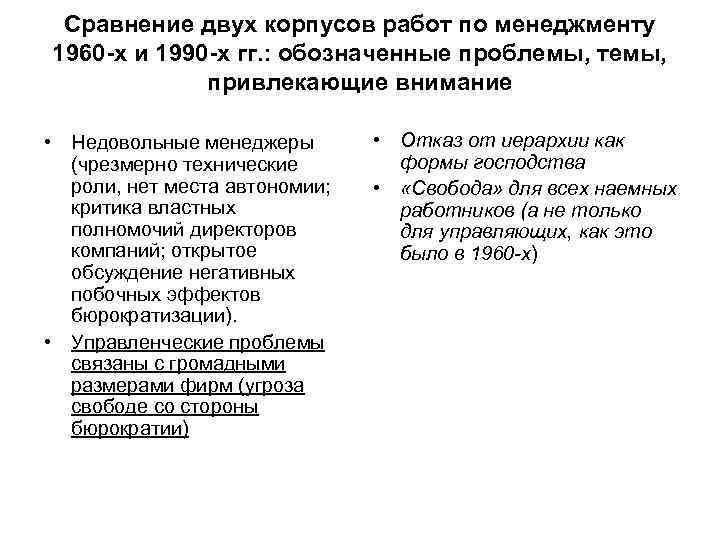Сравнение двух корпусов работ по менеджменту 1960 -х и 1990 -х гг. : обозначенные