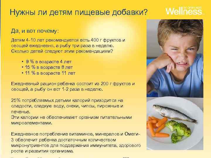 Нужны ли детям пищевые добавки? Да, и вот почему: Детям 4 -10 лет рекомендуется