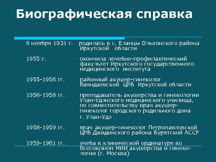 Биографическая справка 8 ноября 1931 г. родилась в с. Еланцы Ольхонского района Иркутской области