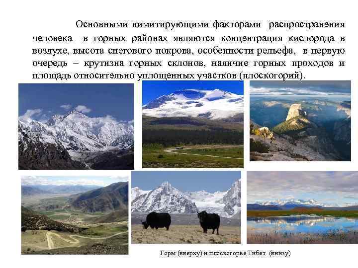 Основными лимитирующими факторами распространения человека в горных районах являются концентрация кислорода в воздухе, высота