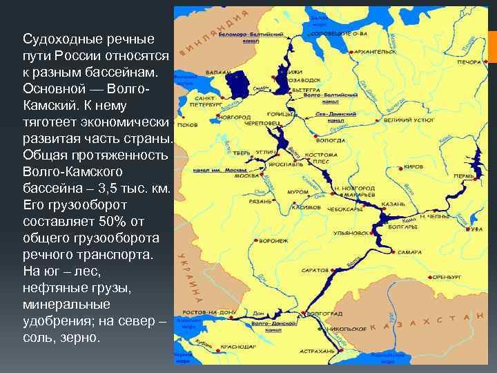Судоходные речные пути России относятся к разным бассейнам. Основной — Волго. Камский. К нему