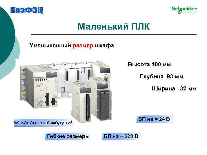 Маленький ПЛК Уменьшенный размер шкафа Высота 100 мм Глубина 93 мм Ширина 32 мм