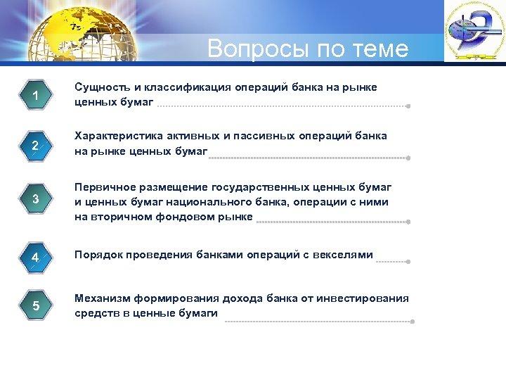 LOGO Вопросы по теме 1 Сущность и классификация операций банка на рынке ценных бумаг
