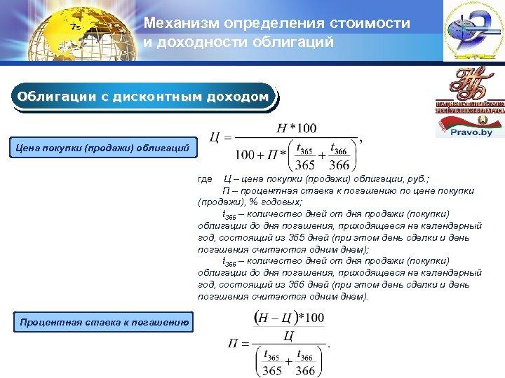 Механизм определения стоимости и доходности облигаций LOGO Облигации с дисконтным доходом Цена покупки (продажи)