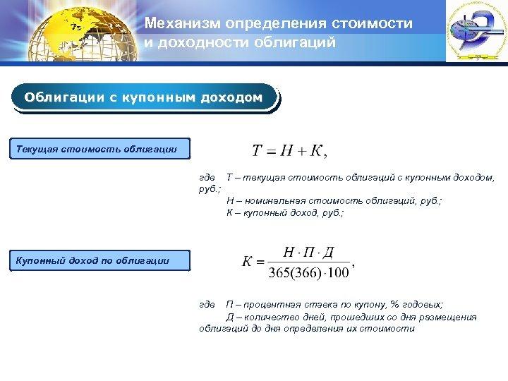 Механизм определения стоимости и доходности облигаций LOGO Облигации с купонным доходом Текущая стоимость облигации