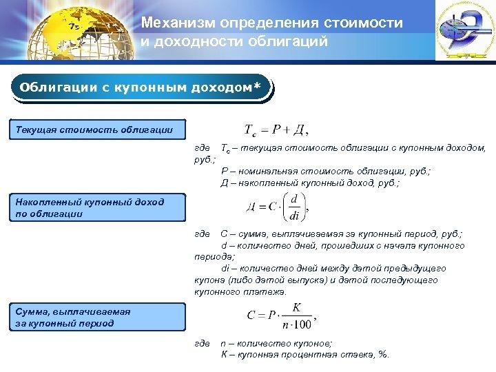Механизм определения стоимости и доходности облигаций LOGO Облигации с купонным доходом* Текущая стоимость облигации