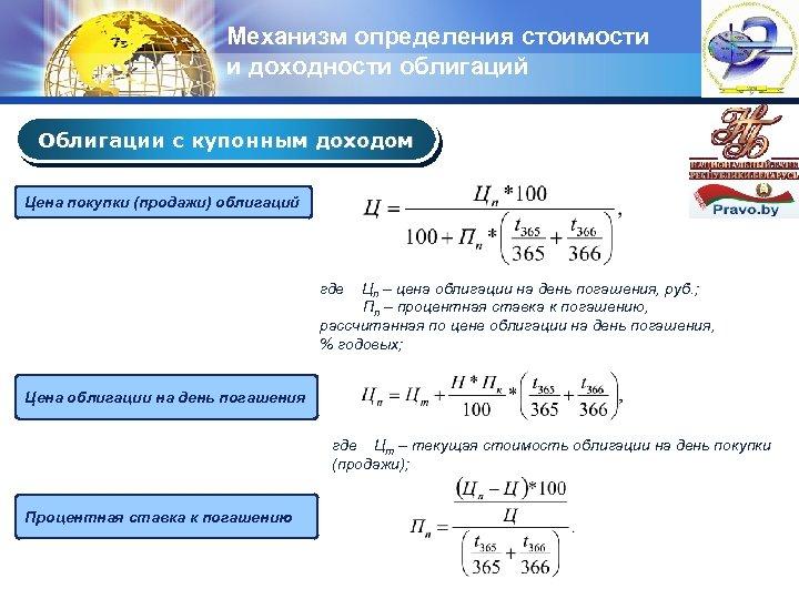 Механизм определения стоимости и доходности облигаций LOGO Облигации с купонным доходом Цена покупки (продажи)