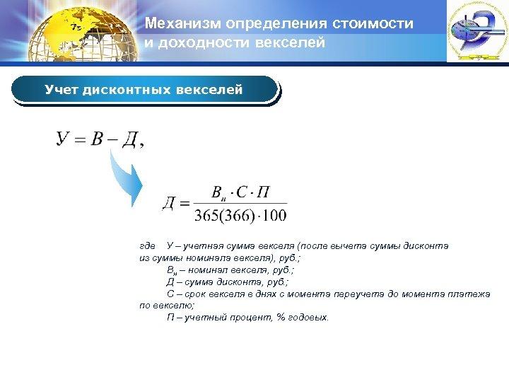Механизм определения стоимости и доходности векселей LOGO Учет дисконтных векселей где У – учетная