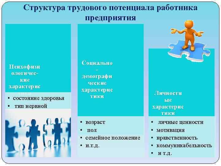Структура трудового потенциала работника предприятия Психофизи ологические характерис тики • состояние здоровья • тип