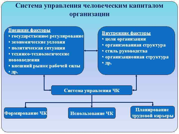 Система управления человеческим капиталом организации Внешние факторы • государственное регулирование • экономические условия •
