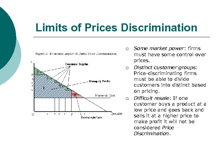 Limits of Prices Discrimination ¡ ¡ ¡ Some market power: firms must have some