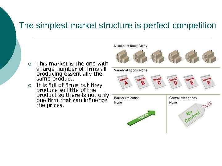 The simplest market structure is perfect competition ¡ ¡ This market is the one