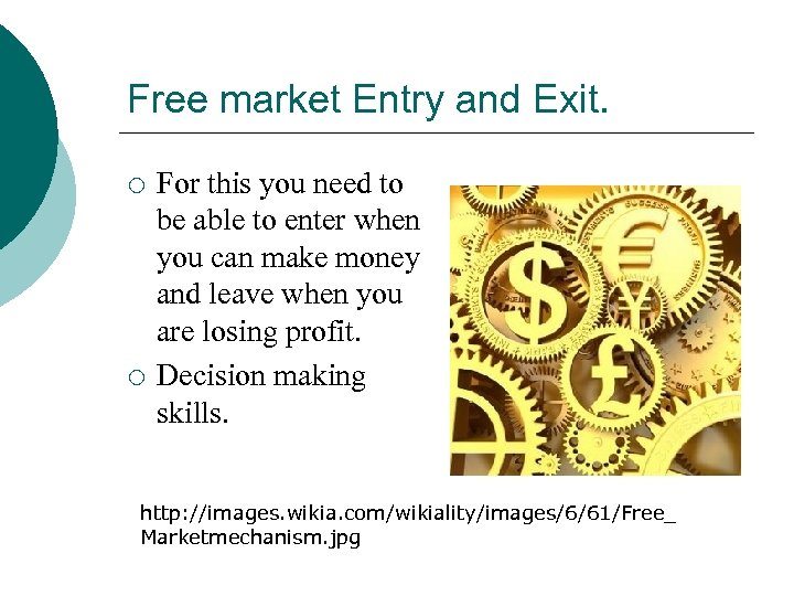 Free market Entry and Exit. ¡ ¡ For this you need to be able