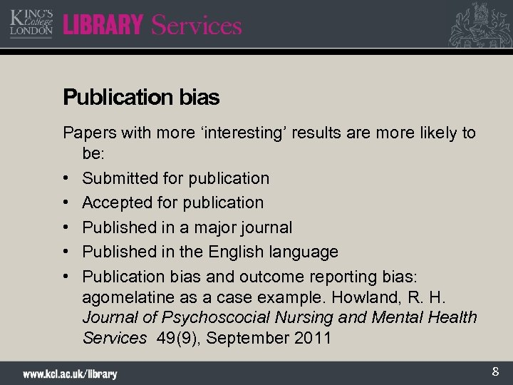 Publication bias Papers with more 'interesting' results are more likely to be: • Submitted